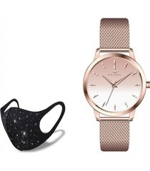 reloj hasir rose gold one  fashion mask con cristales ferro