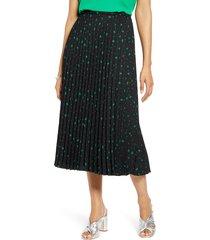 women's halogen pleated midi skirt, size xx-large - black