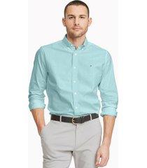 tommy hilfiger men's custom fit essential solid oxford shirt true cornflower - xs