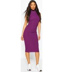 neon rib high neck midi dress, purple