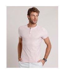 camiseta masculina slim fit manga curta gola portuguesa rosa claro