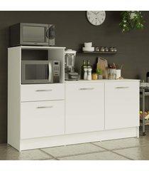 balcão madesa onix 180 cm 3 portas 1 gaveta e nicho para forno - branco branco