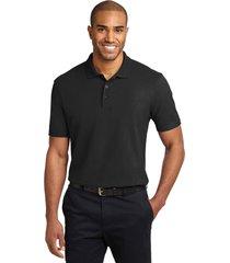 port authority k510 soil & stain-resistant polo shirt - black