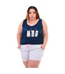 short doll bella fiore modas pijama feminino plus size azul marinho