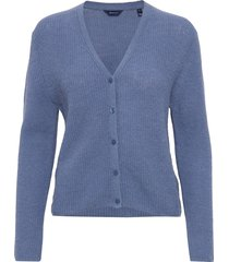 d1. ribbed woolblend cardigan stickad tröja cardigan blå gant