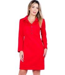 vestido cuello camisero rojo bellisima