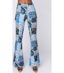 akira catherine patchwork print flare pants