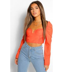 petite volume sleeve corset top, orange
