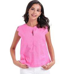 blusa hombros festoneados rosa nicopoly