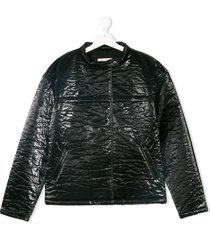 andorine textured patent jacket - black
