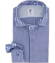 r2 amsterdam shirt mouwlengte 7  blauw gestreept