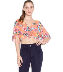 blusa lucy in the sky cropped laranja - kanui