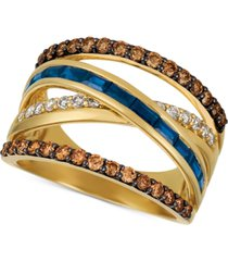 le vian chocolate & nude blueberry sapphire (3/4 ct. t.w.) & diamond (7/8 ct. t.w.) crisscross ring in 14k gold