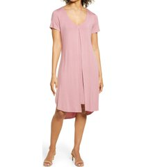 connected apparel short sleeve midi dress, size small in rose at nordstrom
