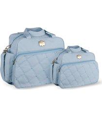 kit bolsas bebê maternidade azul claro classic 2 peças griff