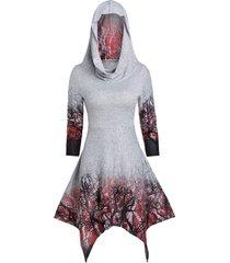 halloween convertible tree print handkerchief dress
