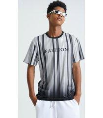 camiseta casual de verano con letras a rayas para hombre