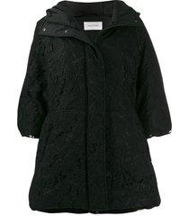 valentino lace overlay hooded coat - black