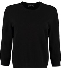 a.p.c. zoe crew-neck cotton blend sweater