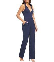 women's dress the population maira tie shoulder crepe jumpsuit, size x-large - blue