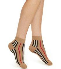 women's burberry icon stripe cotton blend ankle socks, size medium - beige