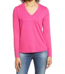 women's bobeau v-neck butter top, size x-small - pink
