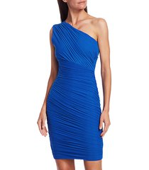 one shoulder tulle draped bodycon dress