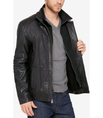 cole haan men's leather bomber jacket