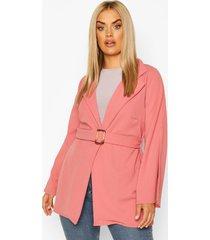 plus split sleeve self belt blazer, dusky pink