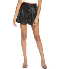 women's blanknyc faux leather paperbag waist shorts