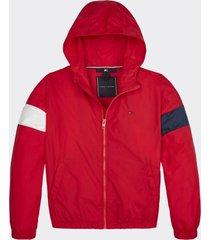 chaqueta essential con gorro rojo tommy hilfiger