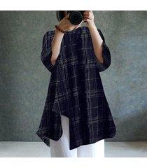 zanzea para mujer cuello redondo de manga larga a cuadros compruebe dobladillo irregular de algodón de lino tapas flojas blusa de la camisa -azul