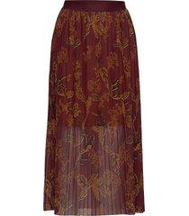 plissé mesh skirt lång kjol röd mos mosh