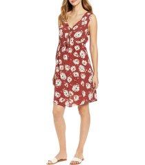 women's angel maternity print sleeveless drawstring maternity dress, size large - red