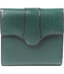 valextra green leather trifold wallet green sz: