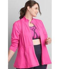 lane bryant women's livi zip-front peplum jacket with wicking 26/28 bold pink