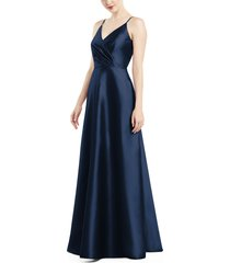 women's alfred sung satin twill a-line gown, size 2 - blue