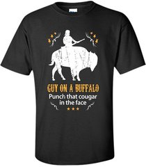 guy on a buffalo punch that cougar in the face t-shirt men