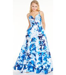 sequin hearts juniors' floral-print double-strap gown