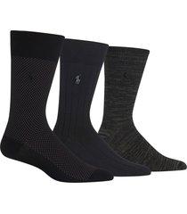 men's polo ralph lauren assorted 3-pack bird's eye socks, size one size - black