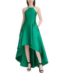 calvin klein halter high-low gown