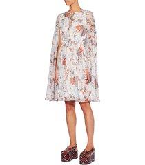 women's erdem austin floral print blouson cape dress, size 10 us - white