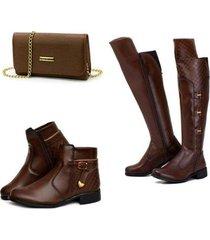 kit alice monteiro bota over feminina + bota coturno feminina + bolsa clutch - feminino