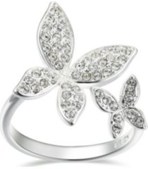 fine silver plated cubic zirconia butterfly adjustable ring