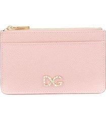 dolce & gabbana rhinestone logo zip purse - pink