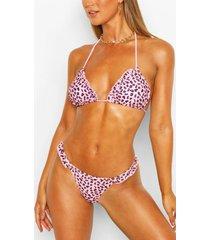 leopard print frill triangle bikini top, pink