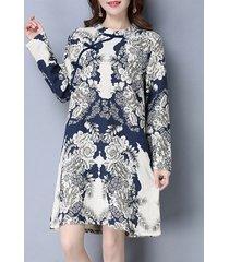 abiti da donna colletto alla coreana manica lunga con bottone a rana stampa stile folk
