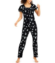 charter club printed pleated-front pajama set, created for macy's