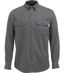 wolverine men's fletcher long sleeve twill shirt granite, size xl