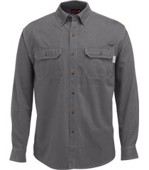 wolverine men's fletcher long sleeve twill shirt granite, size xl